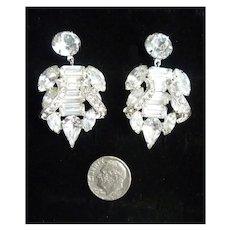 Elegant Elaborate Eisenberg Clear Rhinestone Chandelier Dangle Earrings