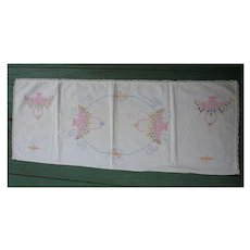 Pink Flower Baskets Yellow Blue Flowers Embroidered Linen Runner