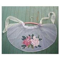 Pretty Floral Applique Print Net and Sheer Vintage Apron