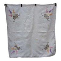 Lovely White Linen with Embroidered Flowers and Bows Tablecloth