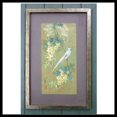White Crested Bird on Branch with Flowers Chinese Tempera Painting