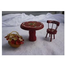 Red and White Floral Painted Dollhouse Table Chair and Flowerbasket Set of 3