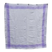 Purple and White Floral Damask Linen Tablecloth