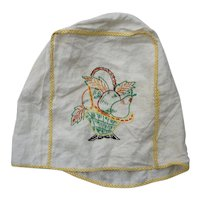 Embroidered Fruits in Basket Yellow Gingham Edging Appliance Cover