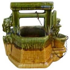 McCoy Pottery Wishing Well Planter Brown Green and Yellow Ochre Glaze