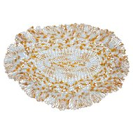Yummy Yellow and White Large Oval Crochet Doily Centerpiece