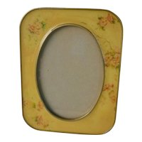 Vintage Loui Michel Cei by Bowon Yellow with Flowers Cloisonné Frame