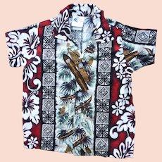Nui Nalu Hawaii Barkcloth Print Kids Aloha Surfer Shirt 3T