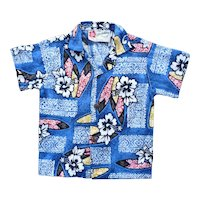Hilo Hattie Hawaii Barkcloth Print Kids Aloha Surfer Shirt 2T