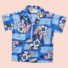 Hilo Hattie Hawaii Barkcloth Print Kids Aloha Surfer Shirt 2T
