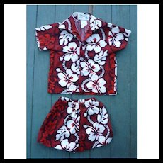 K Y'S Hawaii Red Black White Print Kids 2 Piece Aloha Surfer Shirt and Trunks Set 6 Months