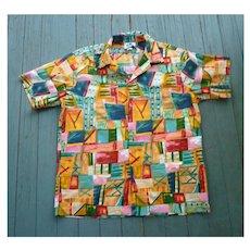 Hilo Hattie Colorful Abstract Print Hawaiian Aloha Surfer Shirt  XL