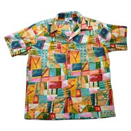 Hilo Hattie Colorful Abstract Print Hawaiian Aloha Surfer Shirt  XL