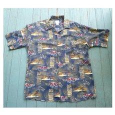 Morro Bay Tiki Print Hawaiian Aloha Surfer Shirt M