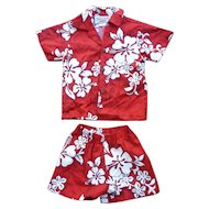 Pacific Legend Hawaii Red White Black Print Kids 2 Piece Aloha Surfer Shirt and Trunks Set 1T
