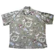 Kahala Island Café Coffee Print Hawaiian Aloha Surfer Shirt XL
