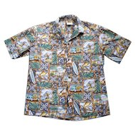 Winnie Fashion Surfer and Woodie Print Hawaiian Aloha Shirt L
