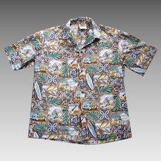 Winnie Fashion Surfer and Woodie Print Hawaiian Aloha Shirt L