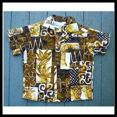 Jacqueline's of Hawaii Barkcloth Print Kids Aloha Surfer Shirt 2T