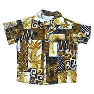 Jacqueline's of Hawaii Barkcloth Print Kids Aloha Surfer Shirt 2T