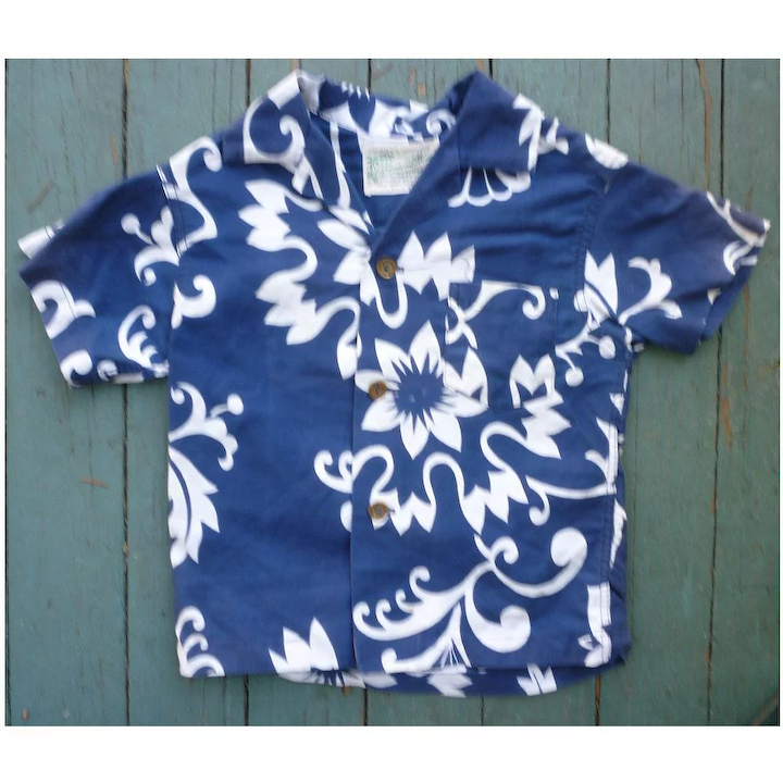49f0de2150ba Diamond Head Blue and White Print Kids Aloha Surfer Shirt 3T : Chez  Marianne | Ruby Lane