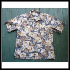 Tiki Bars and Polynesian Restaurants Print Hawaiian Aloha Shirt by Columbia Sportswear M