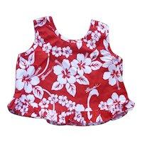 Girl's Hawaii Red White Flower Print Mumu Dress