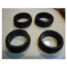 Swirled Ribs Black Celluloid Napkin Rings Set of 4