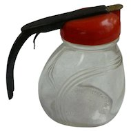 Androck Syrup Dispenser Jar Red Lid and Black Handle