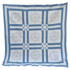 Lovely Blue and White Sash and Block Quilt Hand Embroidered