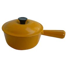 Yellow Cousances Enameled Cast Iron Sauce Pan with Lid