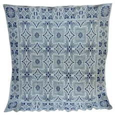 Blue and Natural Linsey-woolsey Woven Coverlet