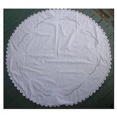 Exquisite Hand Embroidered Flower Basket White Linen Round