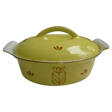 Dru Holland Yellow Brown Tulip Oval Dutch Oven