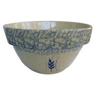 "12"" Robinson Ransbottom Pottery Mixing Bowl Blue Spongeware on Cream 305-12"