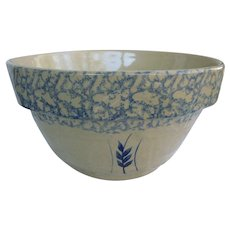 "12"" Robinson Ransbottom Pottery Mixing Bowl Blue Spongeware on Cream 305-12"