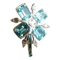 Large Aquamarine Baguette Stones Flower Brooch