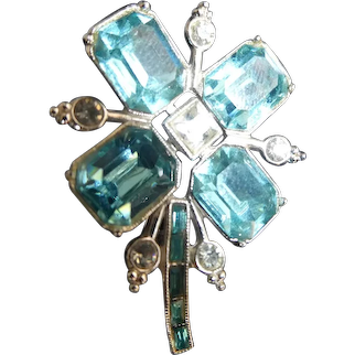 Large Aquamarine Baguette Stones Flower Brooch