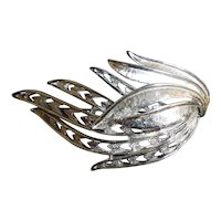 Feathery Wing Silvertone Brooch
