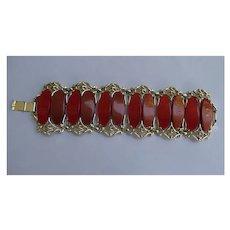 Huge Red and Orange Ovals Set in Filigree Bracelet