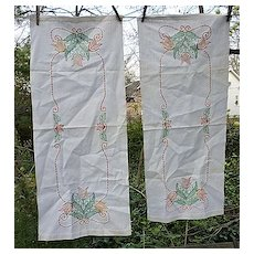 Pair Cottage Tulips and Scrolls Embroidered Linen Runners