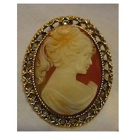 Lovely Lady Large Resin Cameo Brooch Repousse Frame