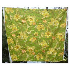 Waverly Spanish Crewel Flowers Green Yellow Orange Decorator Fabric 2 1/2 Yds