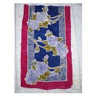 Vintage Vera Violet Blue Roses Silk Scarf
