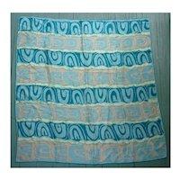 Oscar de la Renta Blue and Peach Abstract Silk Scarf