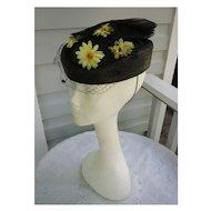 Black Straw Net Bow Yellow Daisies Veil Ladies Hat