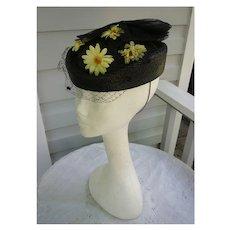 Black Straw Net Bow Yellow Daisies Veil Ladies Hat