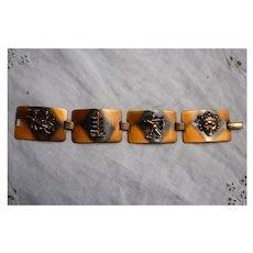Raised Asian Figures Linked Panels Vintage Copper Bracelet