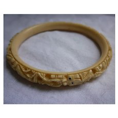 Carved Faux Ivory Celluloid Asian Dragons Bangle Bracelet