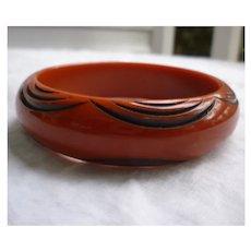 Rich Burnt Orange Black Carved Arches Vintage Celluloid Bangle Bracelet